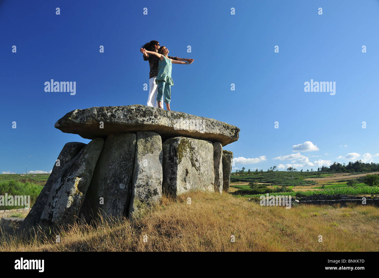 Dolmens neolithisch neolithic history story old antique stone bricklayer Portugal Europe granite megalith grave - Stock Image