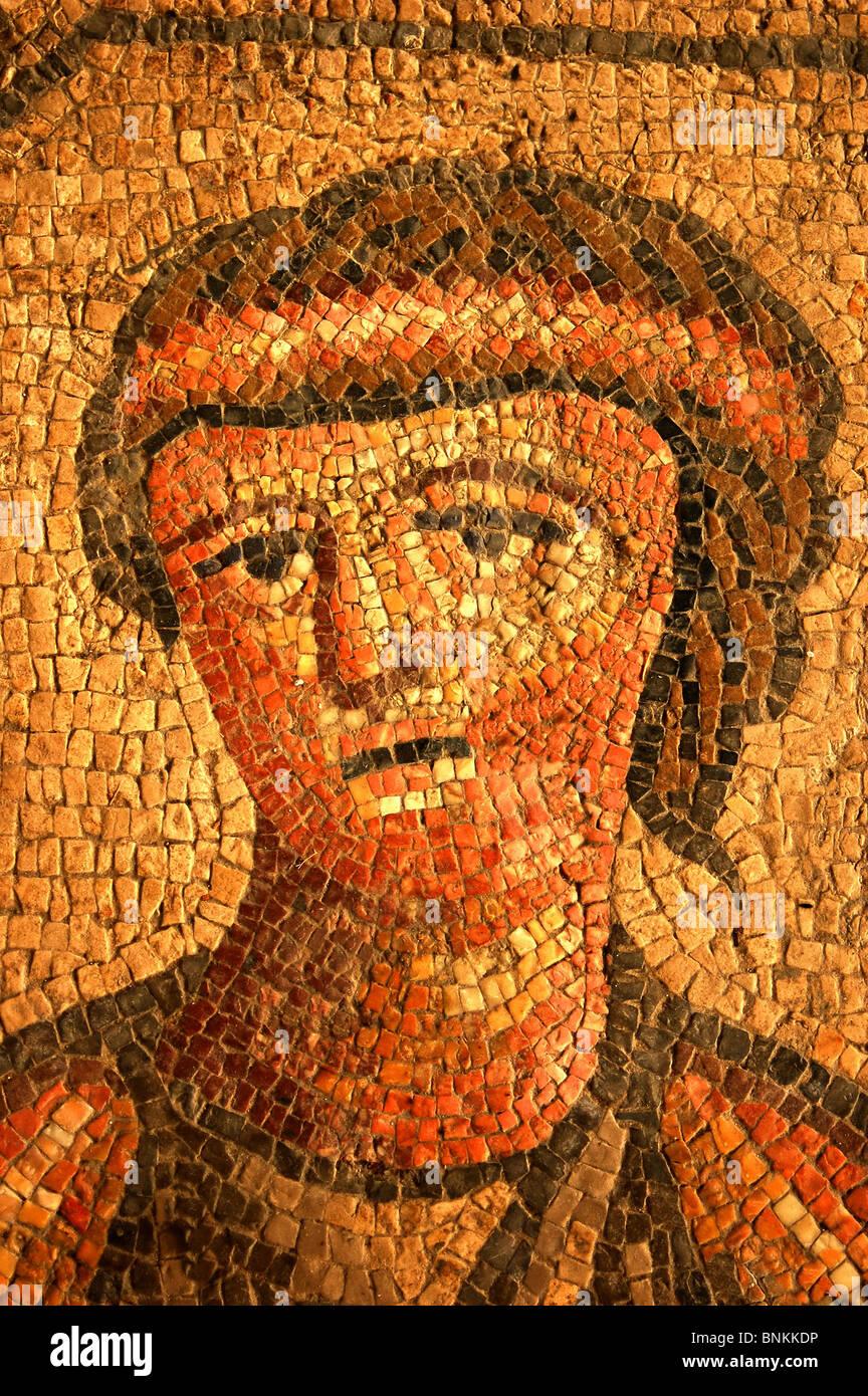 Italy Friaul Friuli aquiliea Rome Roman art skill mosaic tiles ocher red classically decoration adornment craft - Stock Image