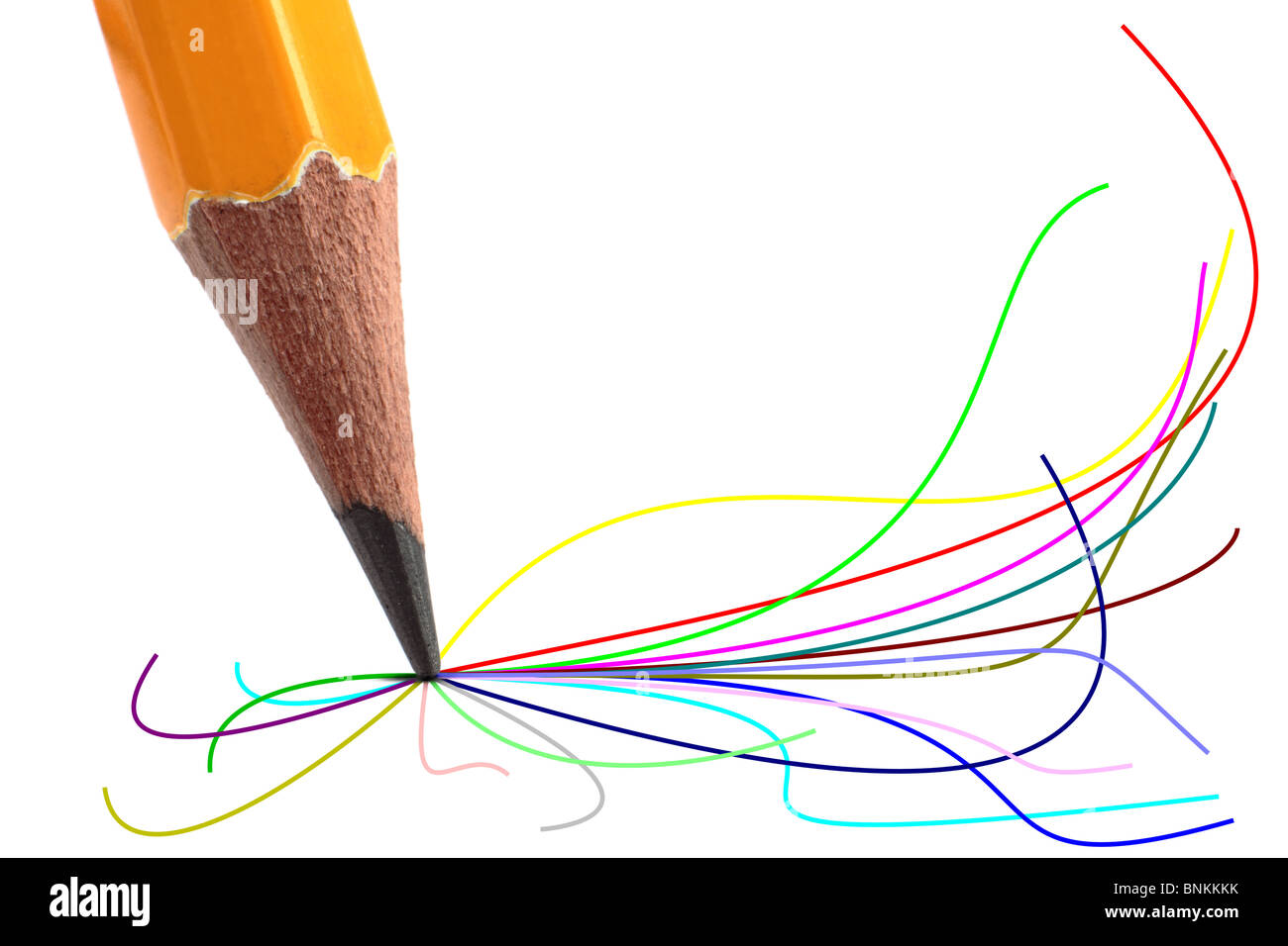Pencil with coloured lines flowing from the tip. - Stock Image