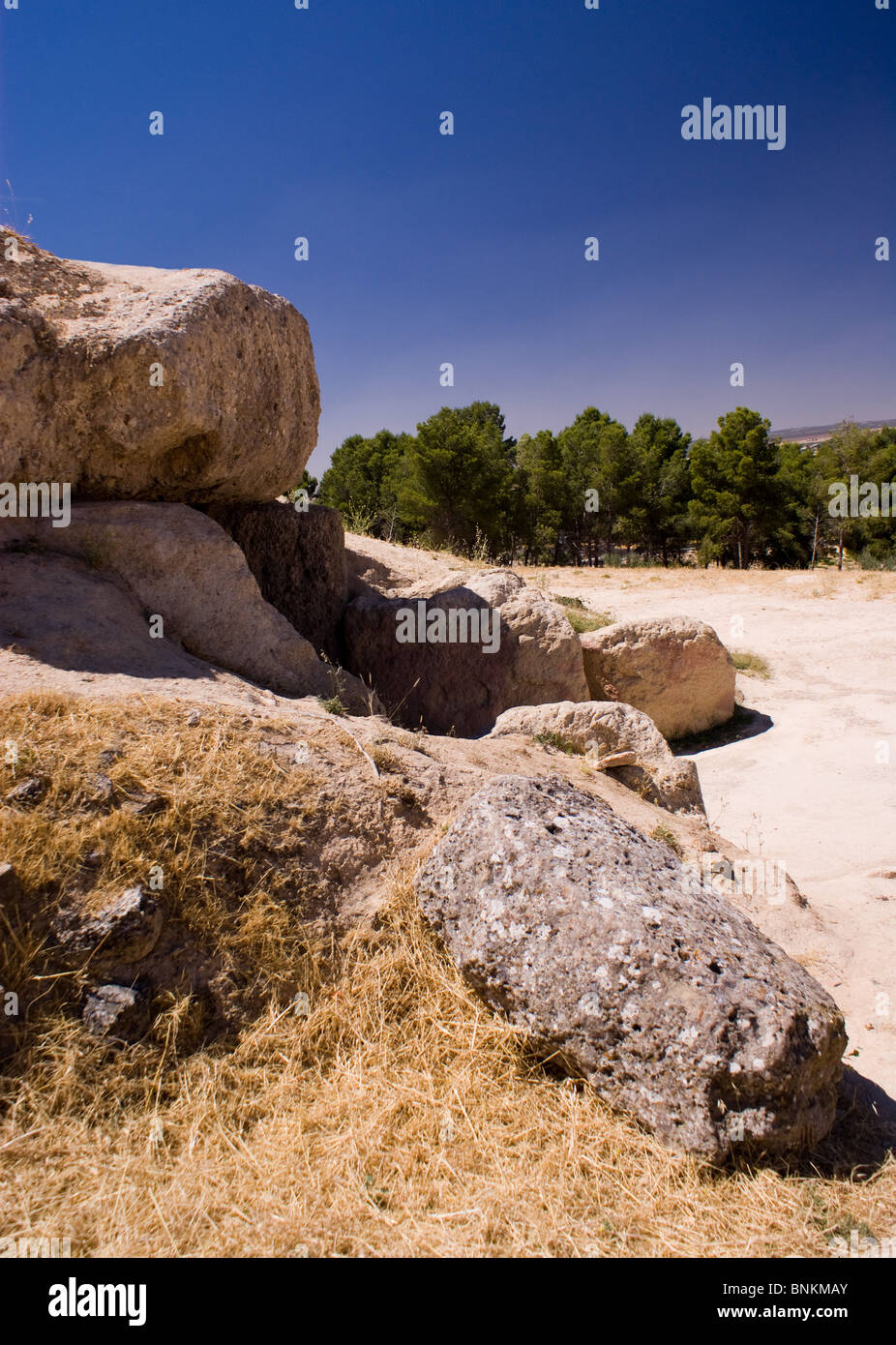 VIEWS OF THE DOLMENS ANTEQUERA SPAIN Stock Photo