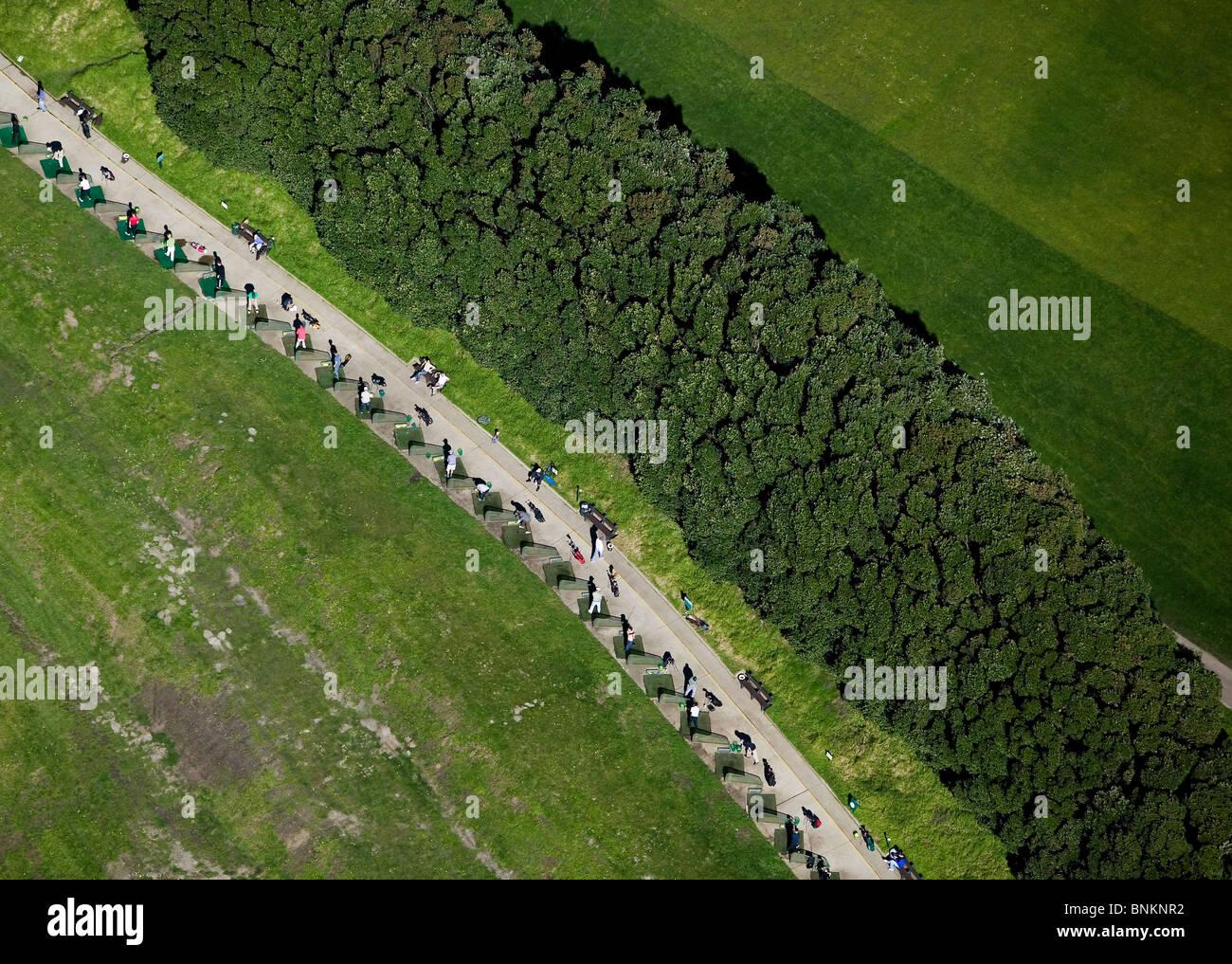 aerial view above driving range Presidio Golf Course San Francisco California Stock Photo