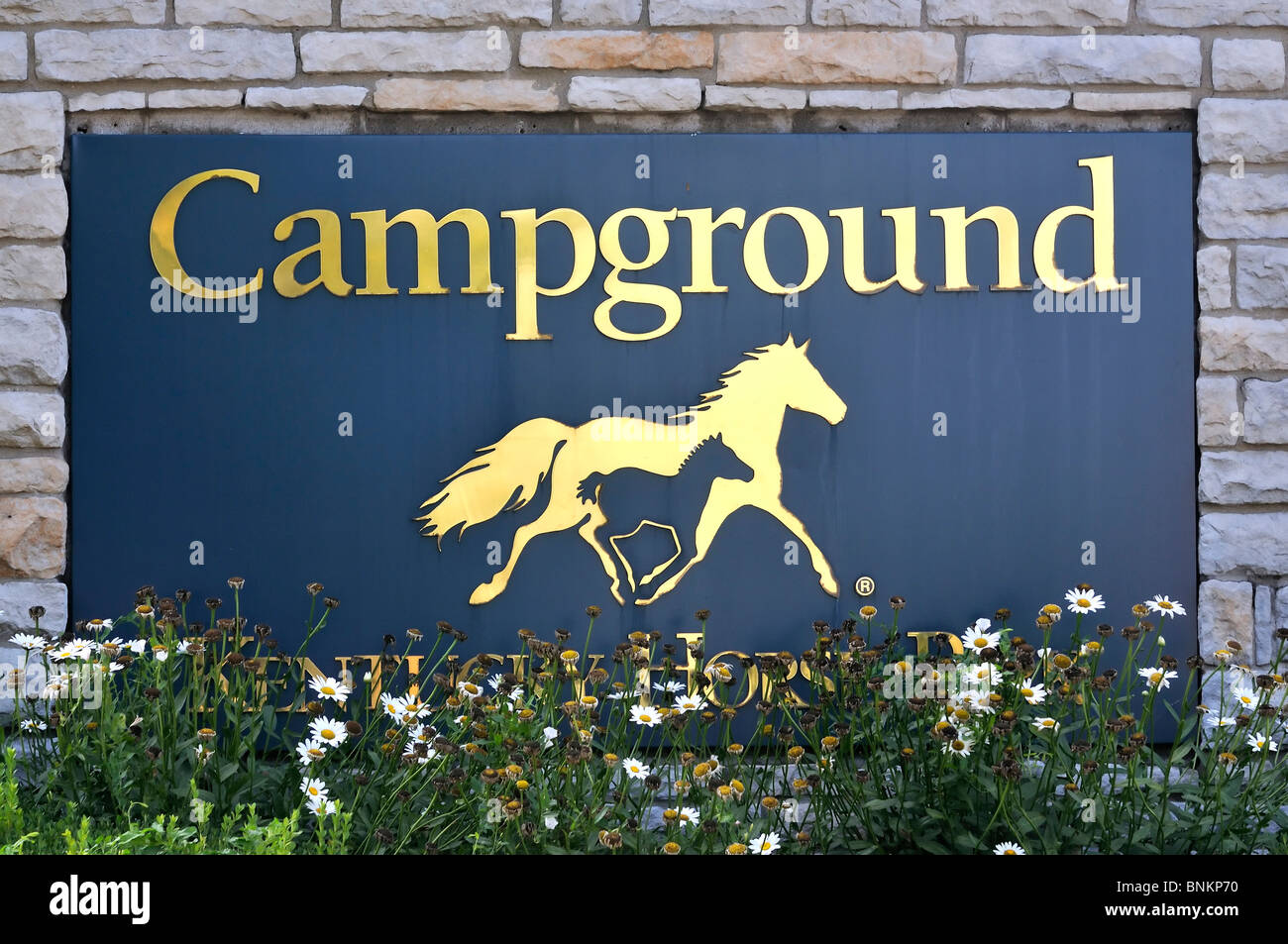 Entrance sign to the Kentucky Horse Park campground in Lexington