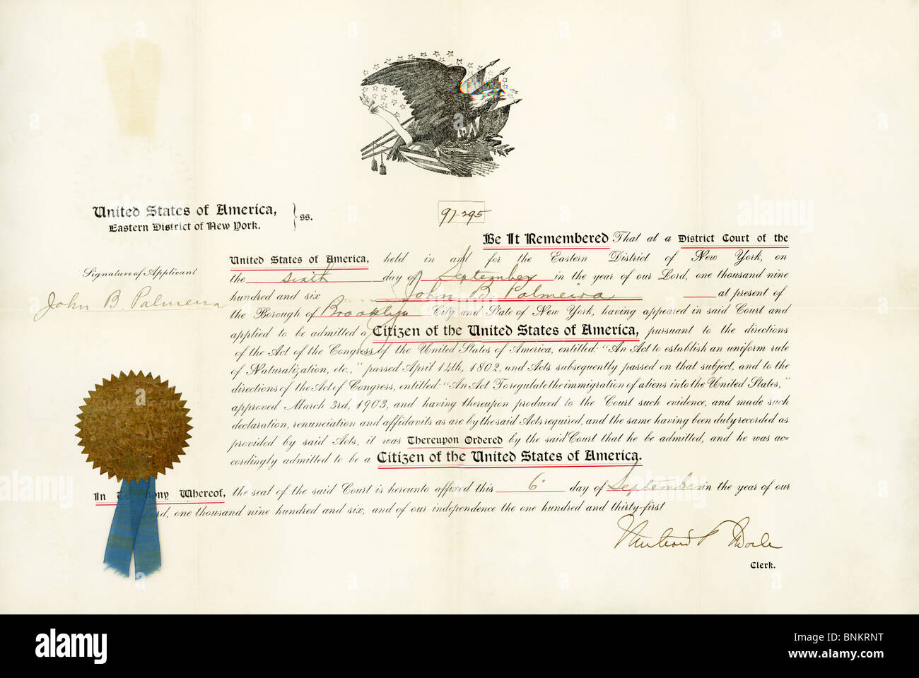This document grants citizenship to John B. Palmeira, of Brooklyn (NY) on September 6, 1906. Palmeira was a native - Stock Image