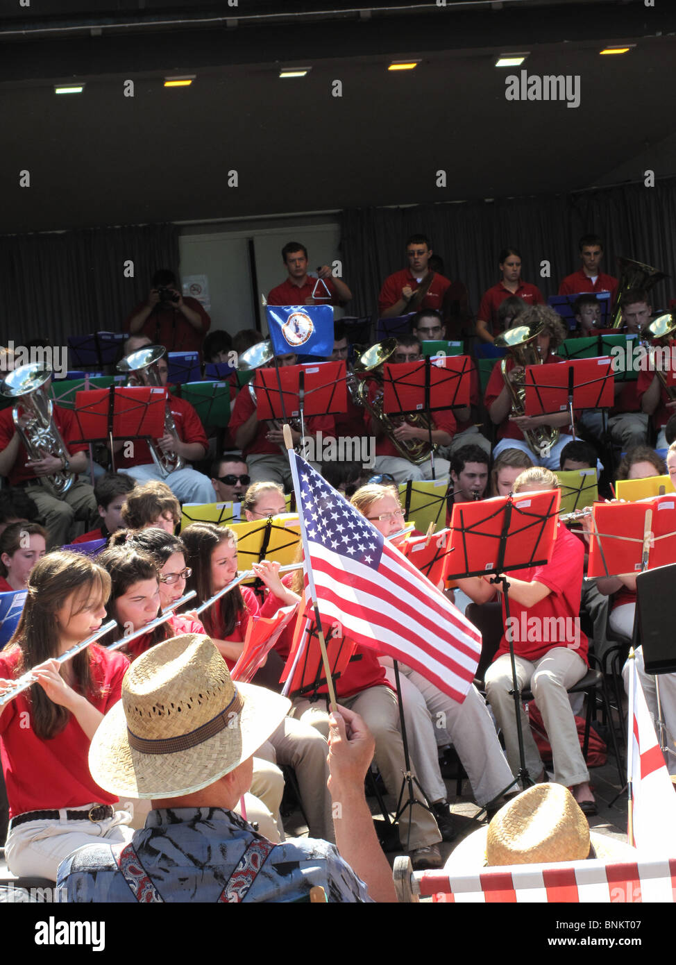 American Flag patriotism Brass band Sousa March - Stock Image