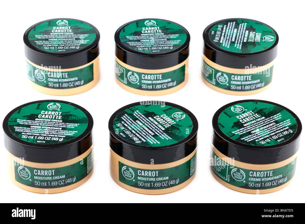 Six tubs of Carrot moisture cream creme hydratante - Stock Image