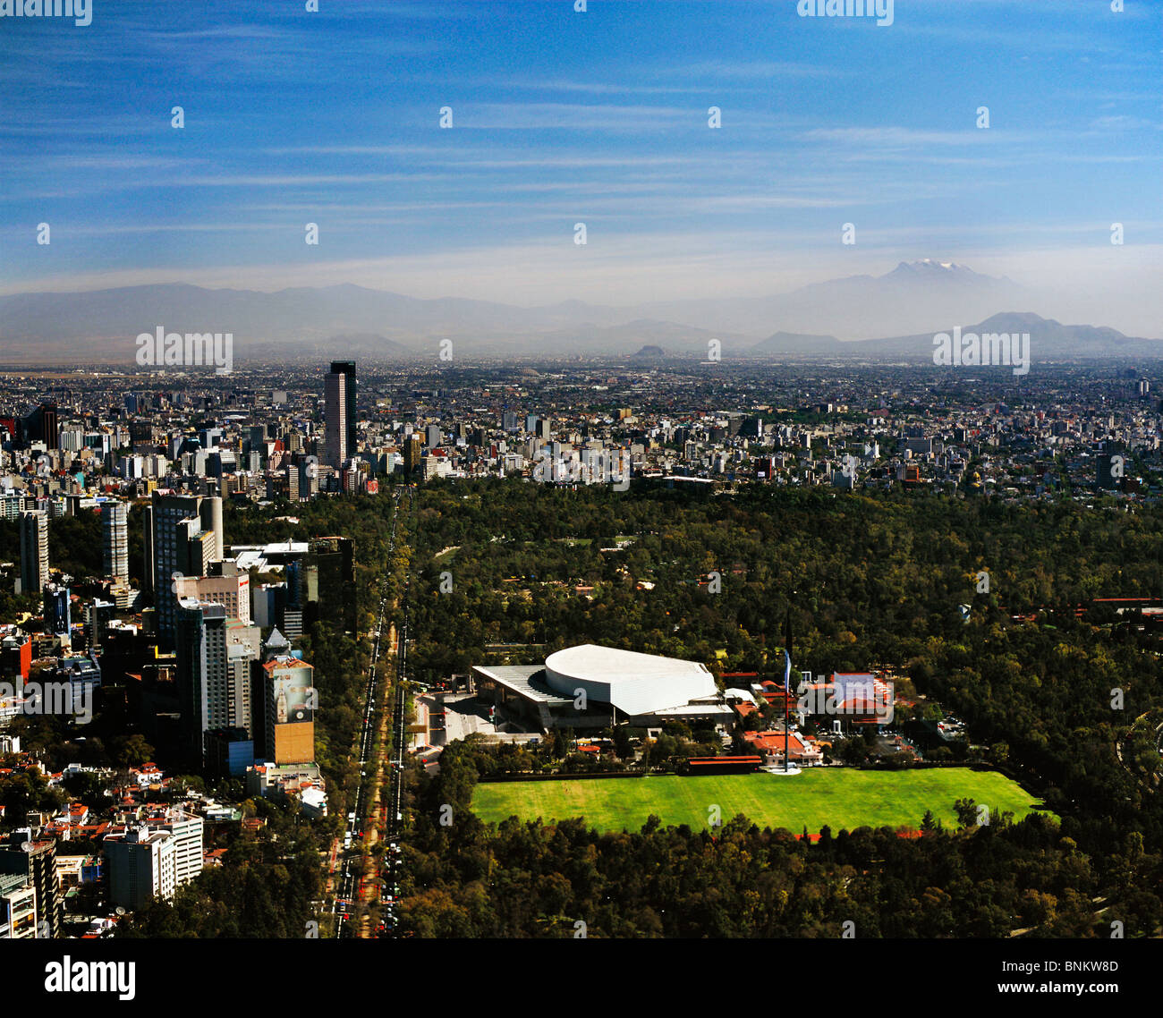 aerial view above National Auditorium Chapultepec Park Mexico City - Stock Image