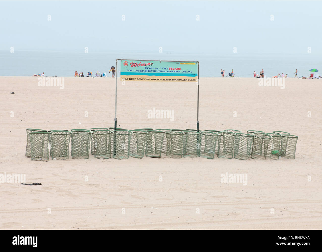beach trash cans - Stock Image