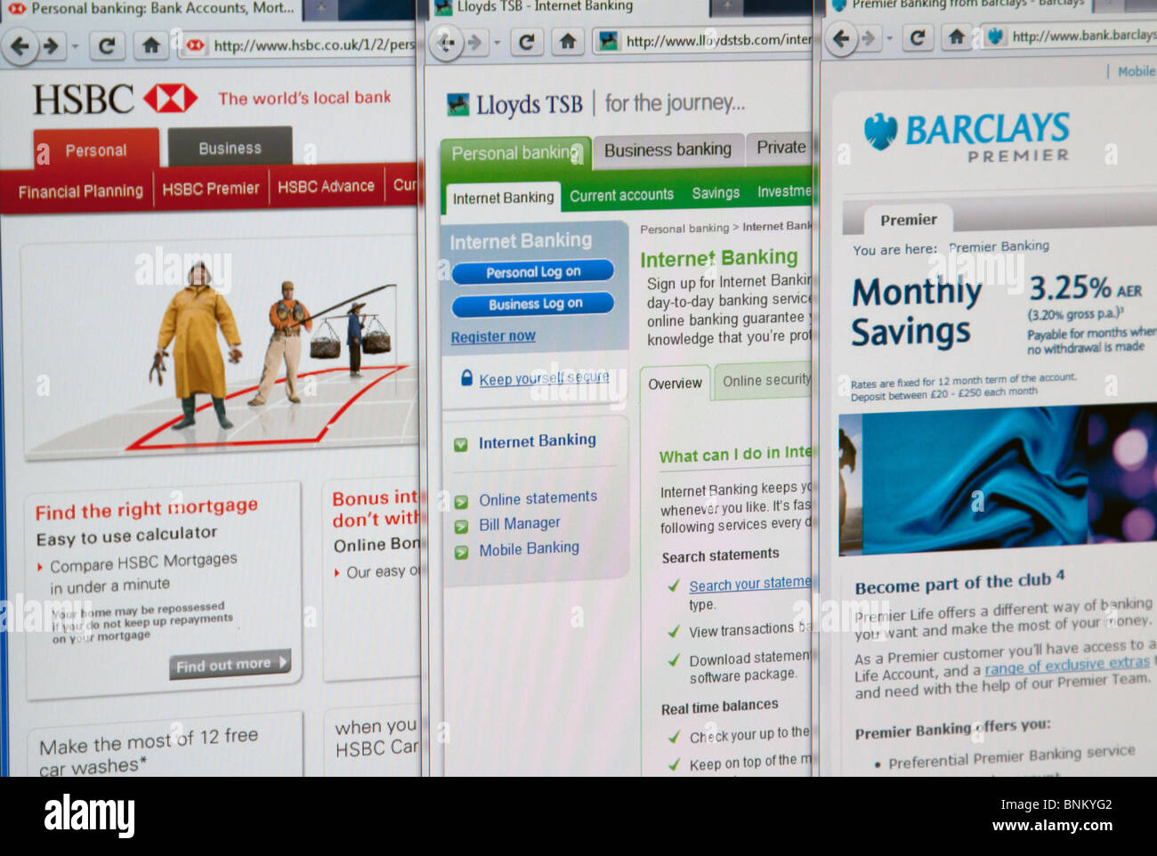HSBC, Lloydstsb, Barclays websites homepages. - Stock Image
