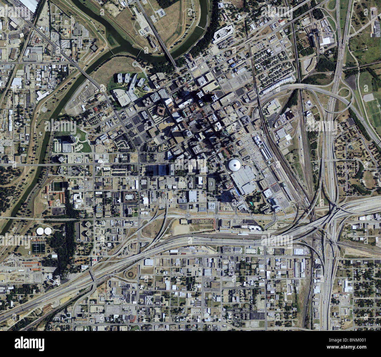 aerial map view above downtown Fort Worth Texas Stock Photo ...