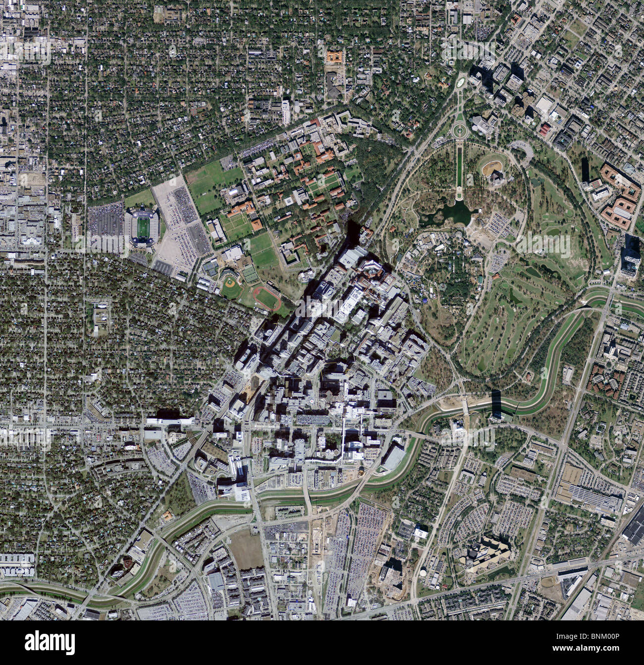 Medical Center Houston Map.Aerial Map View Above Texas Medical Center Houston Texas Stock Photo