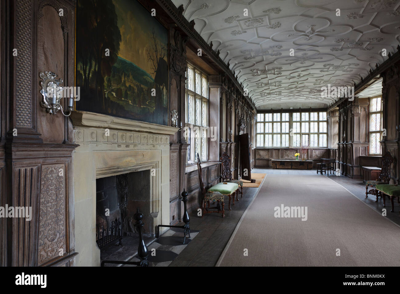 Fireplace And Painting Of Haddon Hall By Rex Whistler In The Long Gallery  At Haddon Hall, Near Bakewell, Derbyshire.