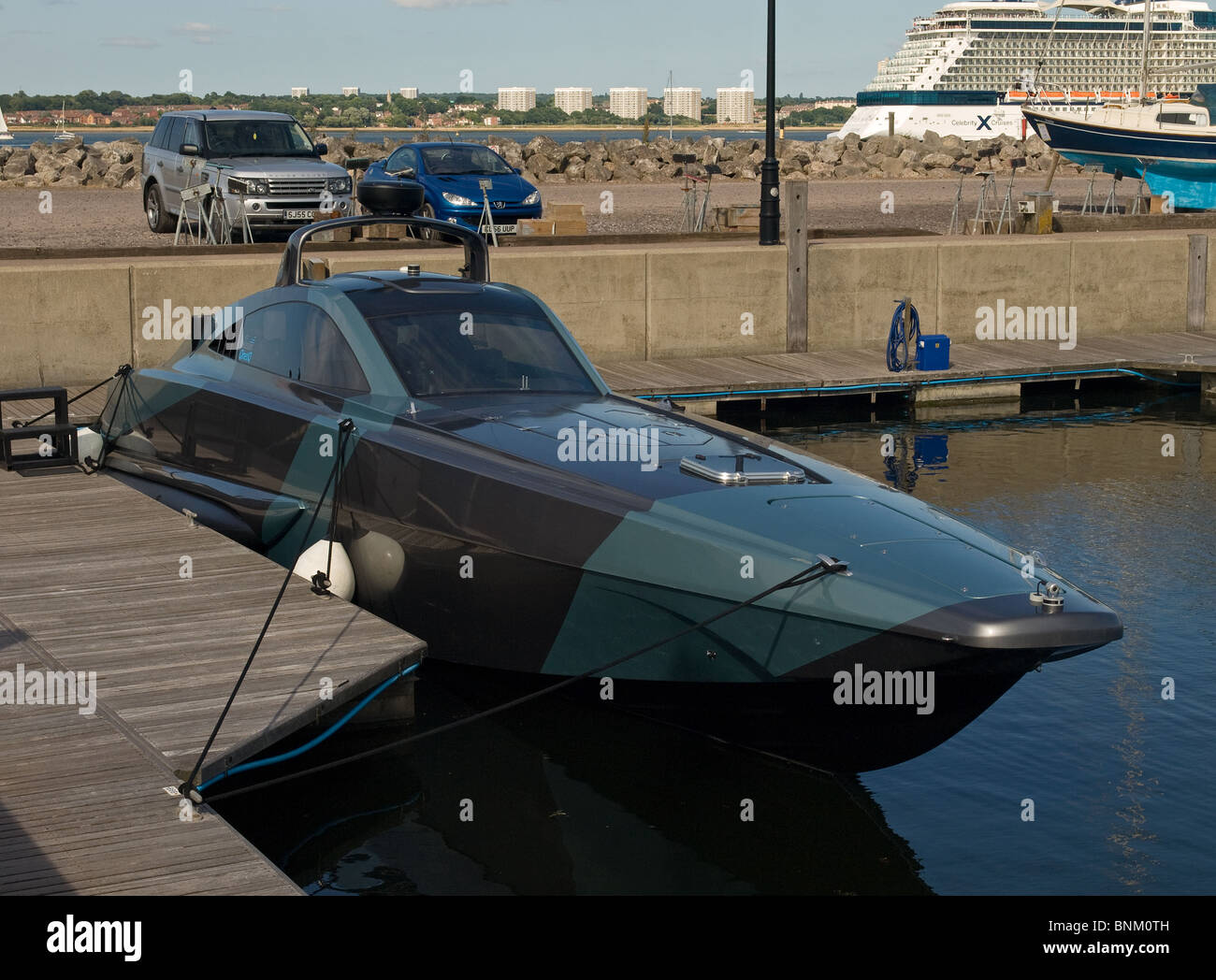 The XSR military interceptor boat berthed in Southampton England UK - Stock Image