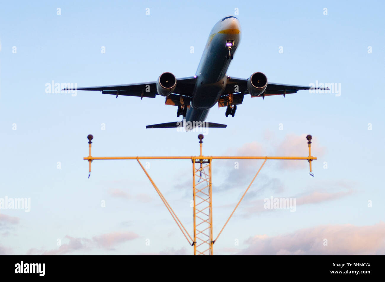 Boeing 777 operated by Jet Airways on approach for landing at London Heathrow Airport, UK. Stock Photo