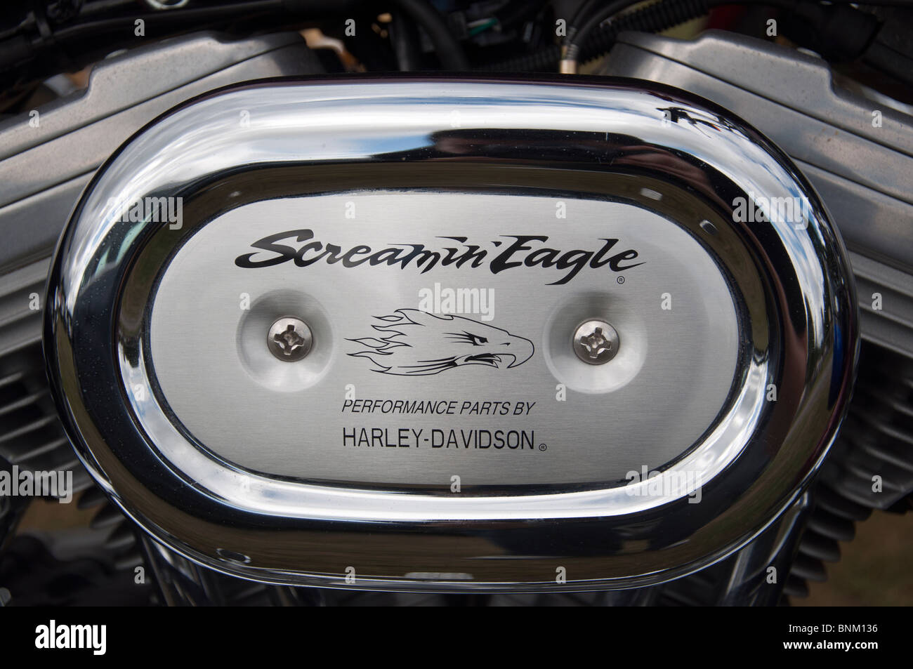 the harley davidson screamin eagle logo on the side of a motorcycle