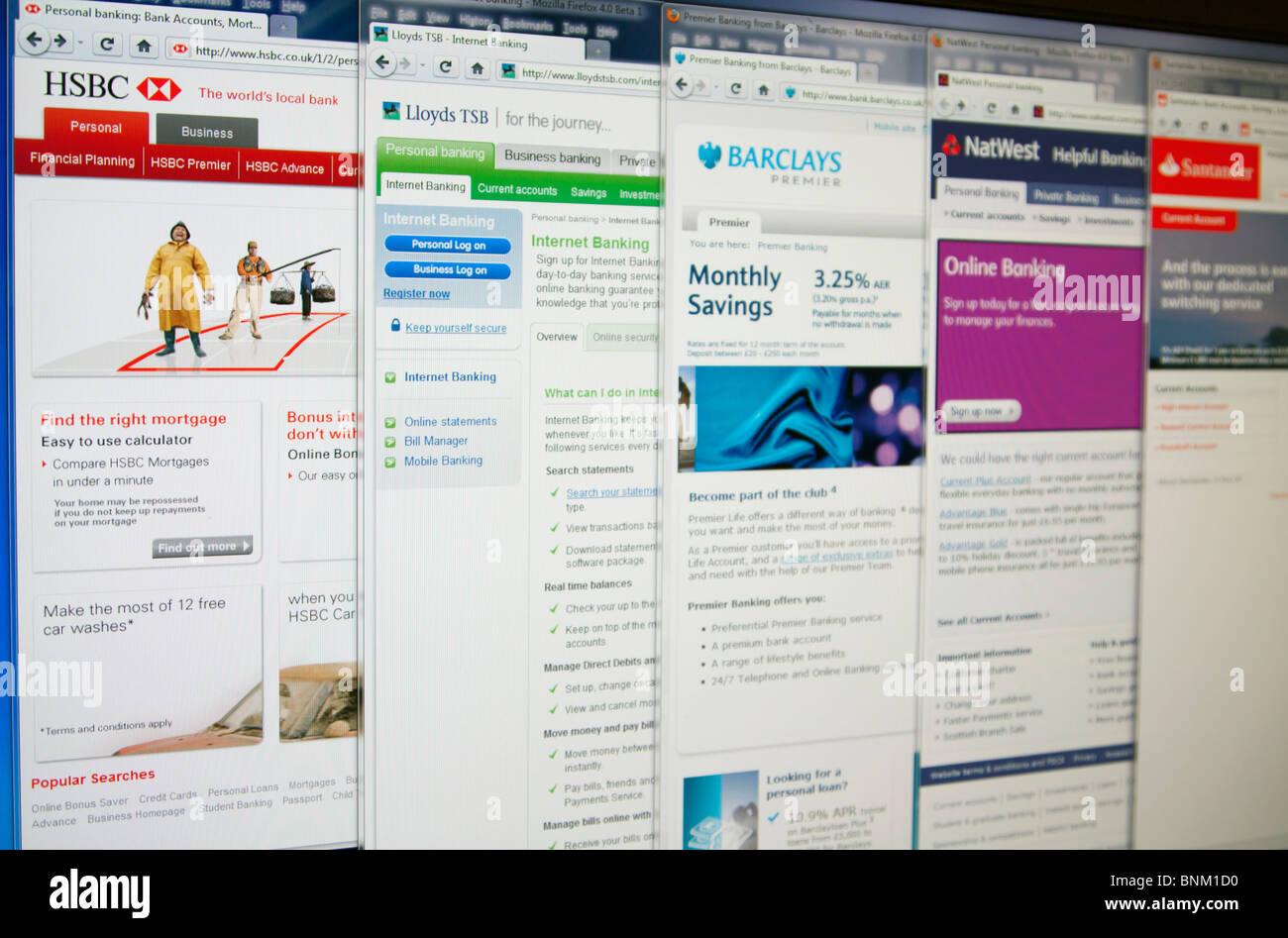HSBC, Lloydstsb, Barclays, Natwest & Santander website homepages. - Stock Image