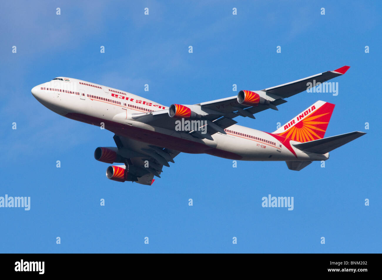Air India Boeing 747 jumbo jet climbing out from take off at London Heathrow Airport, UK. Stock Photo