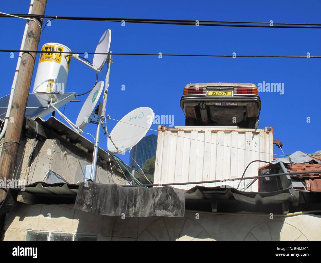 Rooftop scene in a shabby industrial area Tel Aviv israel Stock Photo