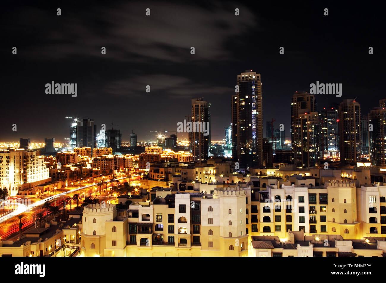 Dubai downtown at night - Stock Image