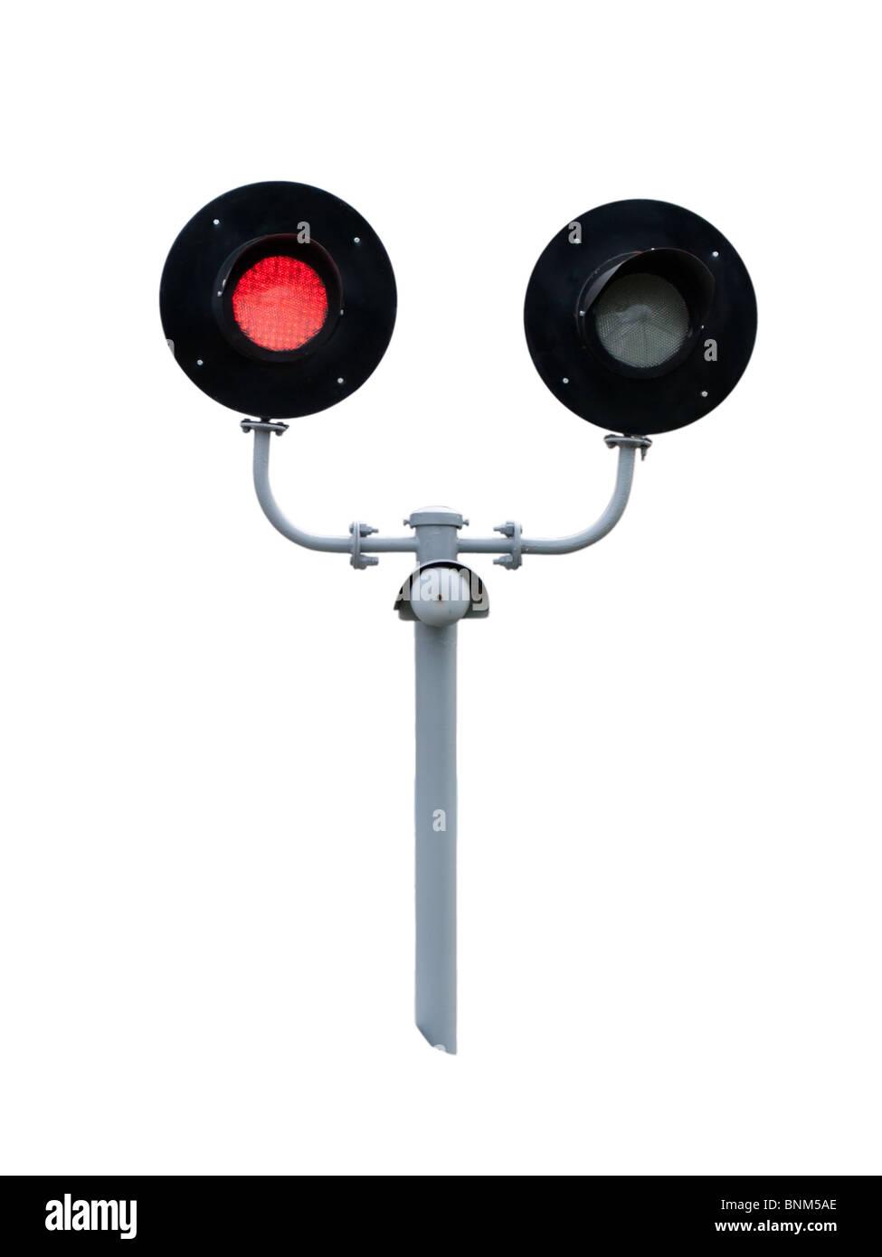 railway traffic lights isolated on white background - Stock Image