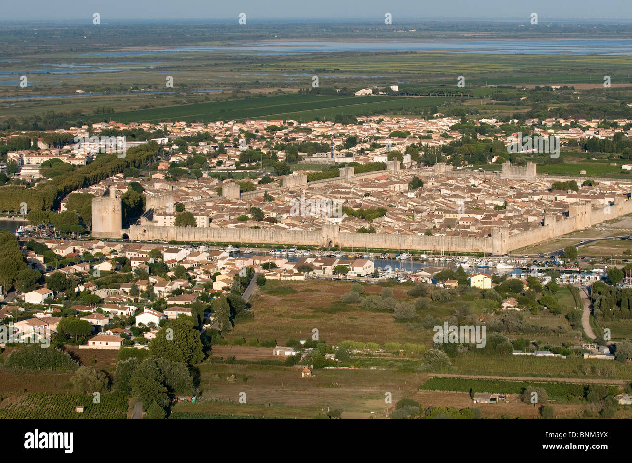 France Camargue Department Gard Aigues Mortes city old town aerial view city wall from above aerial photo Europe - Stock Image