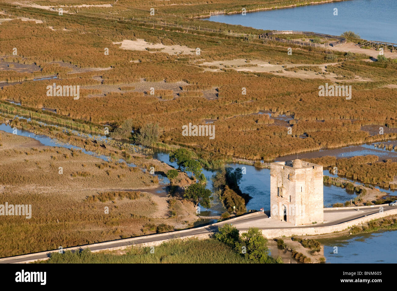 France Camargue Department Gard Aigues Mortes old town aerial view city wall from above aerial photo Tour Carbonnière - Stock Image