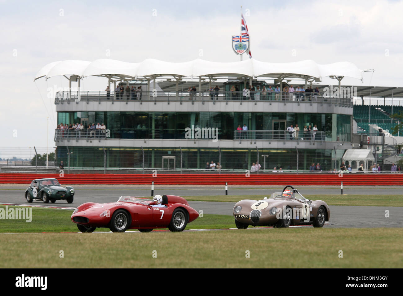 Sir Stirling Moss drives the OSCA during the Silverstone Classic, Silverstone Circuit, July 24th 2010. - Stock Image