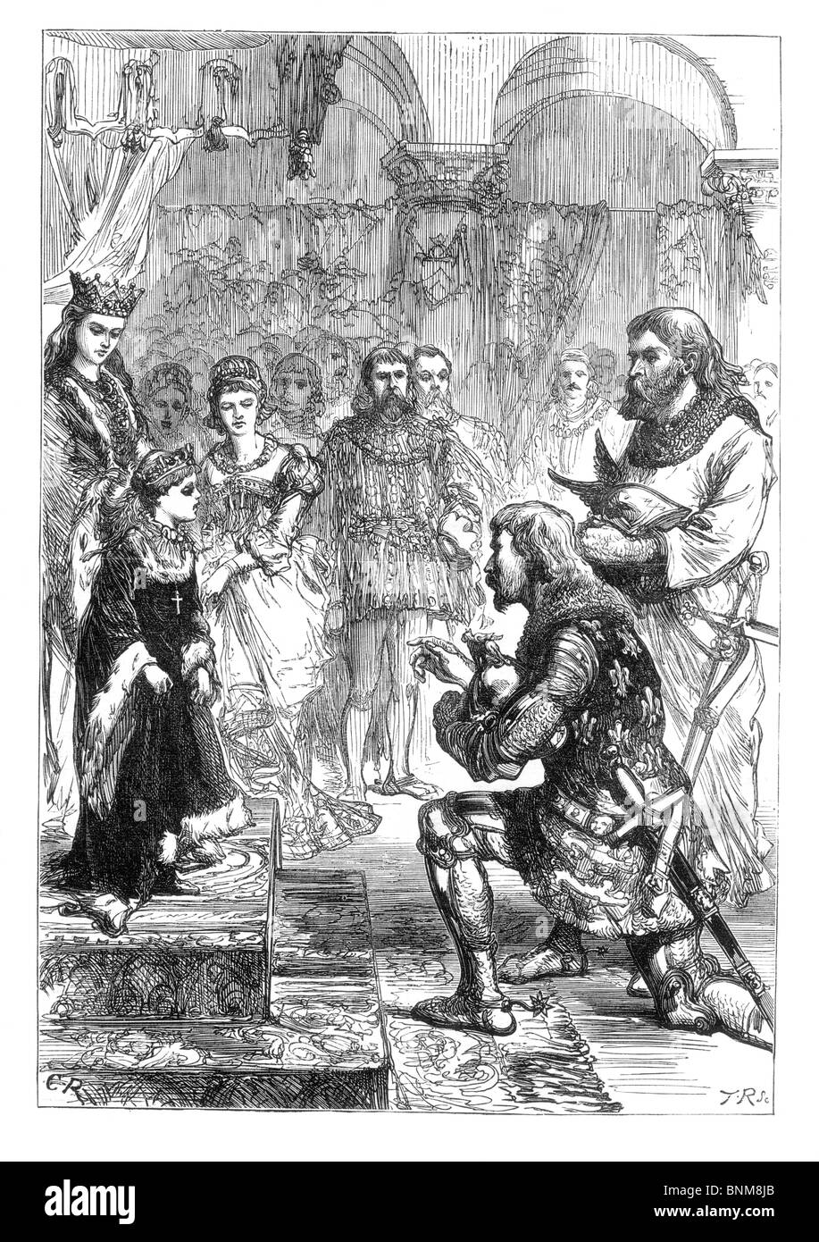 Black and White Illustration of the Betrothal of King Richard II of England to Princess Isabella, daughter of King - Stock Image