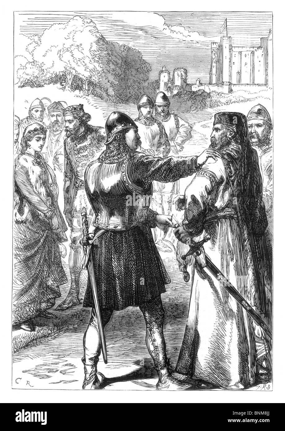 Black and White Illustration of the Arrest of the Duke of Gloucester, July 1387 during the tyranny of King Richard - Stock Image