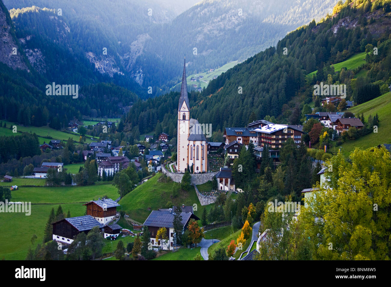 Austria Carinthia saint's blood church village wood forest mountains holidays travel, - Stock Image