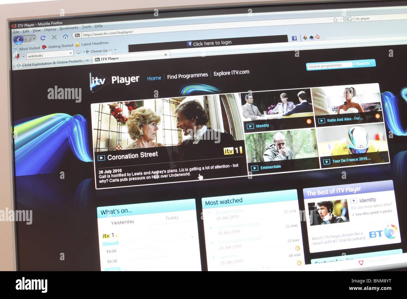 ITV Player online website web www internet TV program viewer - Stock Image