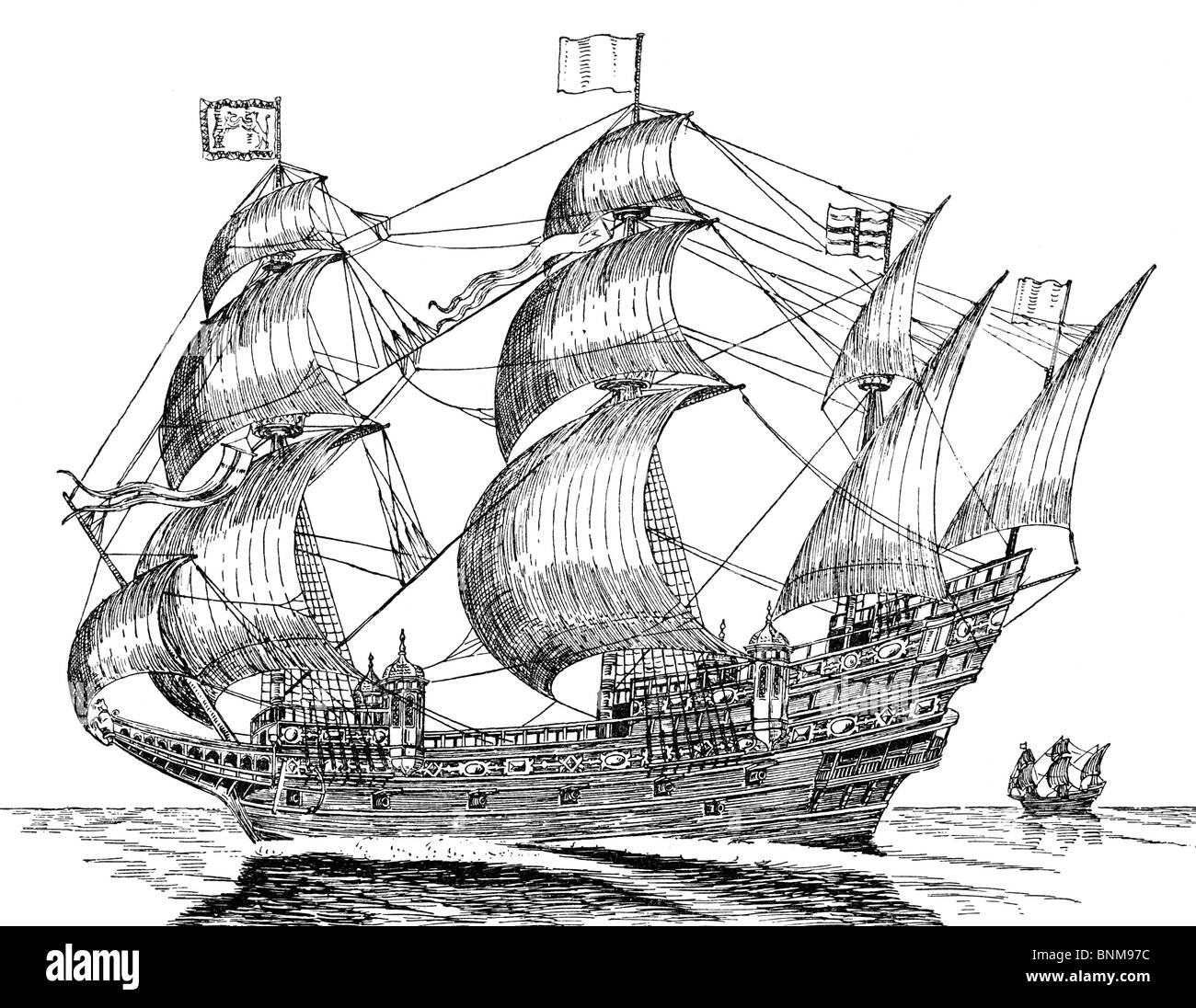 Black and White Illustration of an Elizabethan Galleon; 16th Century - Stock Image