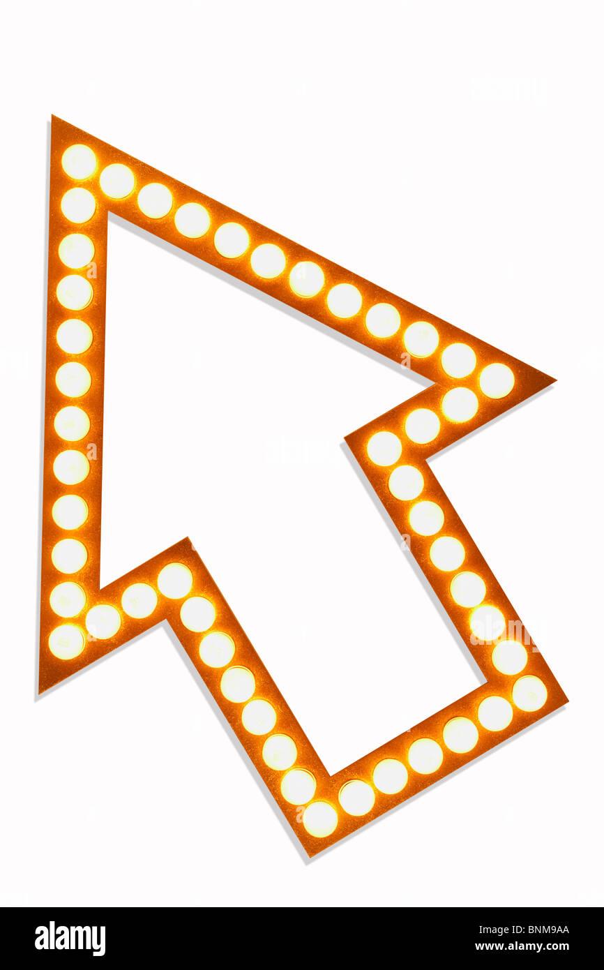 Golden Arrow in Lights - Stock Image