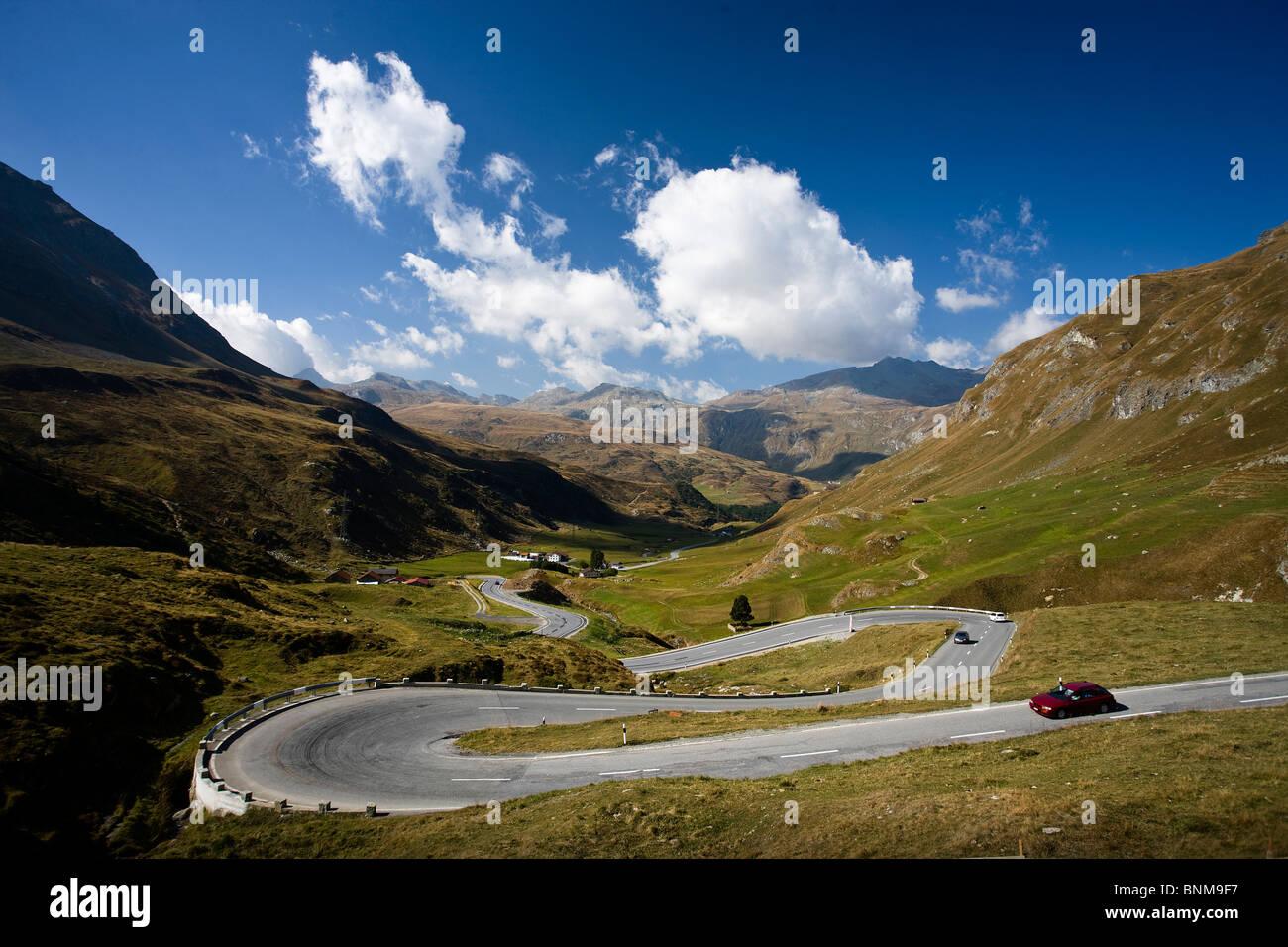 Switzerland Graubünden Grisons Engadin pass street Julier Pass sepentines curves holidays travel, - Stock Image