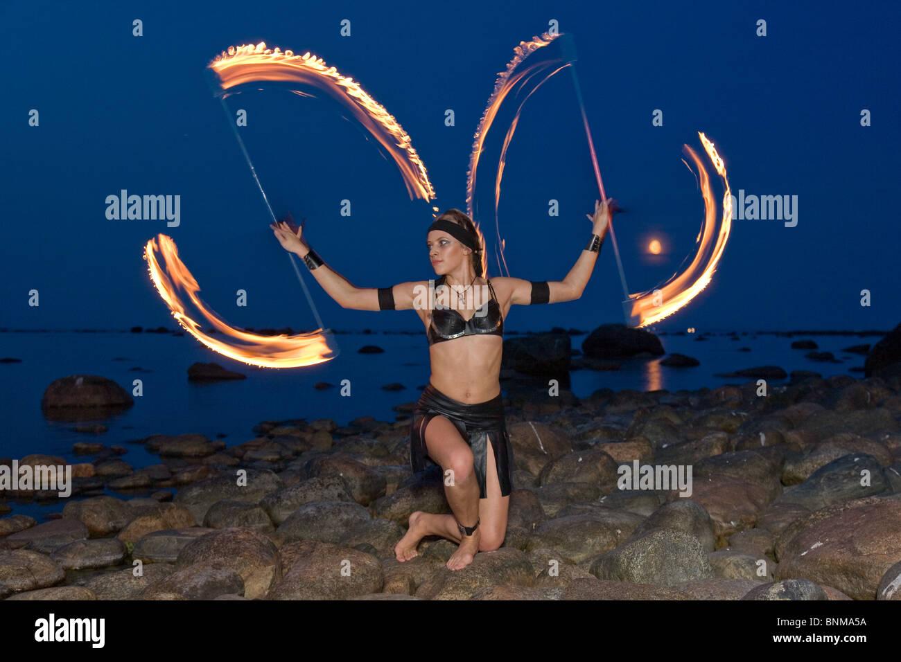 Fire Dancer - Stock Image