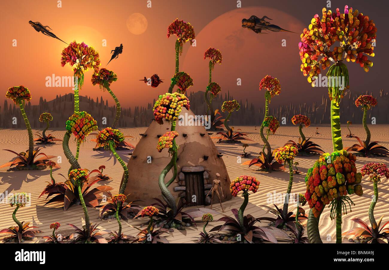 A Conceptual Alien Garden. - Stock Image