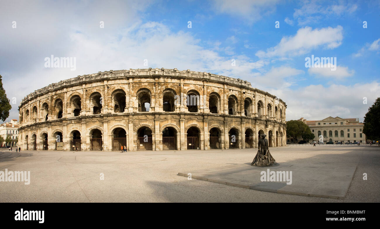 France Nimes arena bullfight arena place space Roman holidays travel, - Stock Image