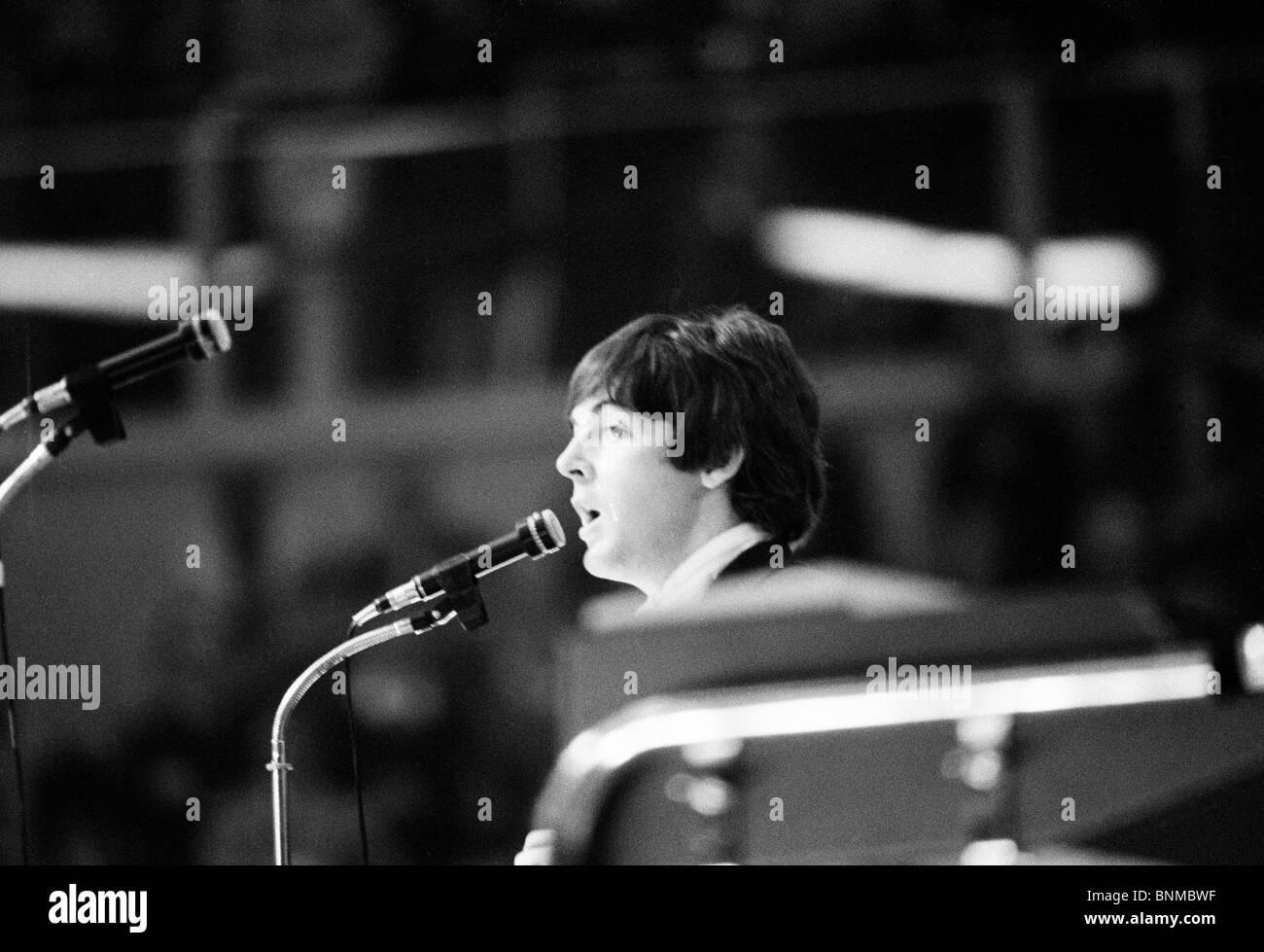 The Beatles music pop group band concert Germany Essen 1966 Paul McCartney singer - Stock Image