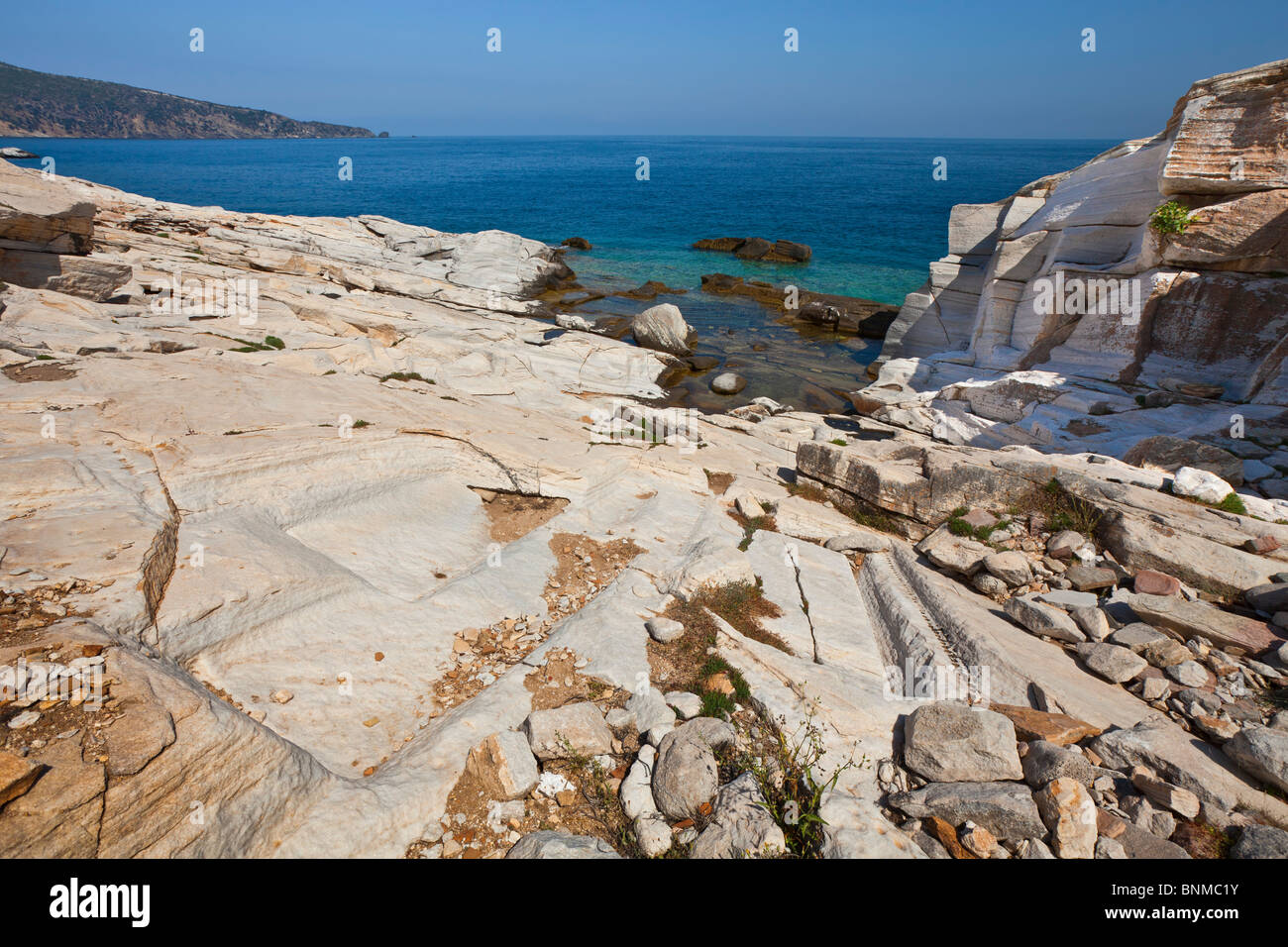 Cuttings visible in an ancient marble quarry on the island of Thasos, Greece. - Stock Image
