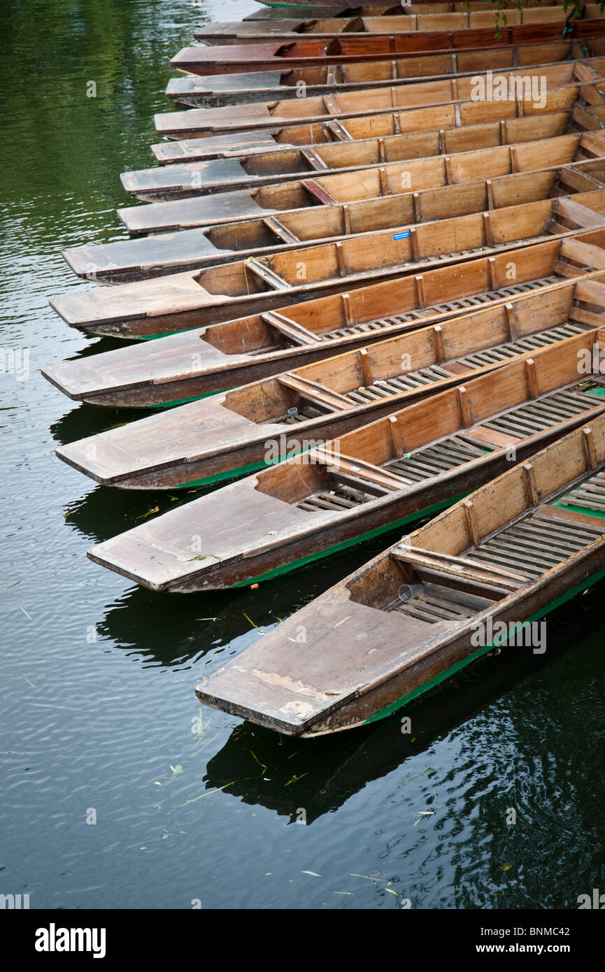 Punting on the river Cam, Cambridge - punts lined up waiting for use - Stock Image