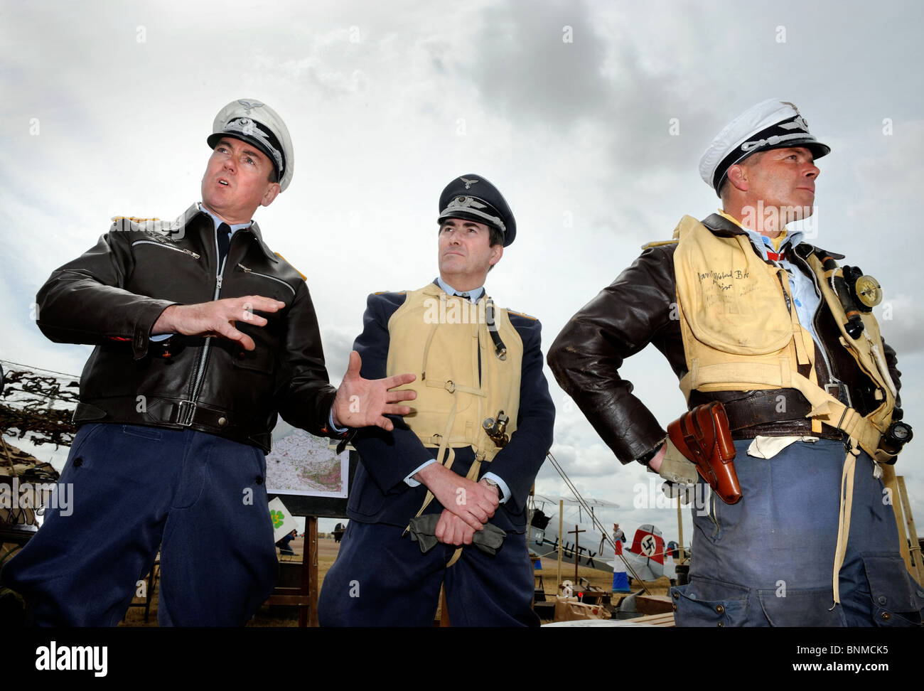 Members of the Luftwaffe Re-enactment Group dressed as German airmen at The Royal International Air Tattoo at RAF - Stock Image