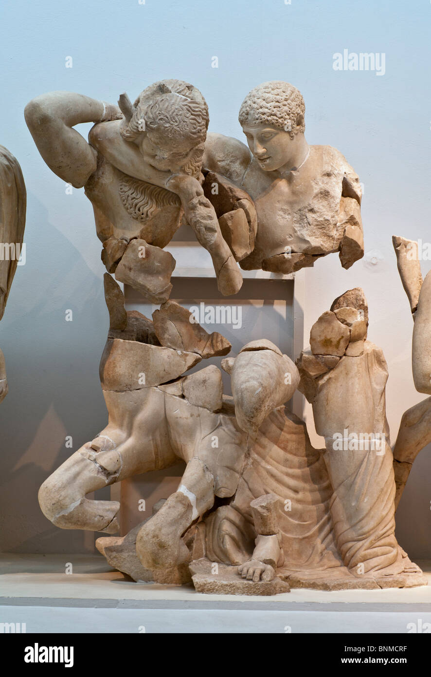 A centaur biting a lapith. From the west pediment of the Temple of Zeus at Olympia, Greece. - Stock Image