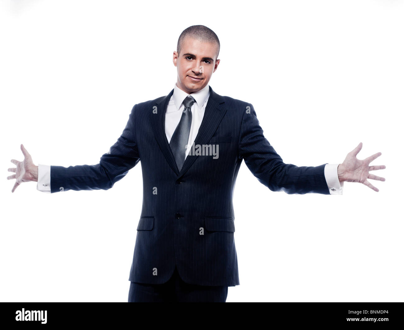 caucasian man businessman welcoming open arms portrait isolated studio on white background - Stock Image