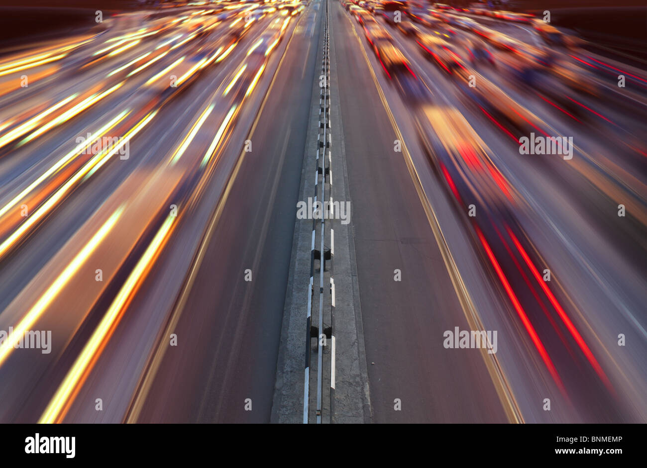 Night time traffic on highway in Kiev city - Stock Image