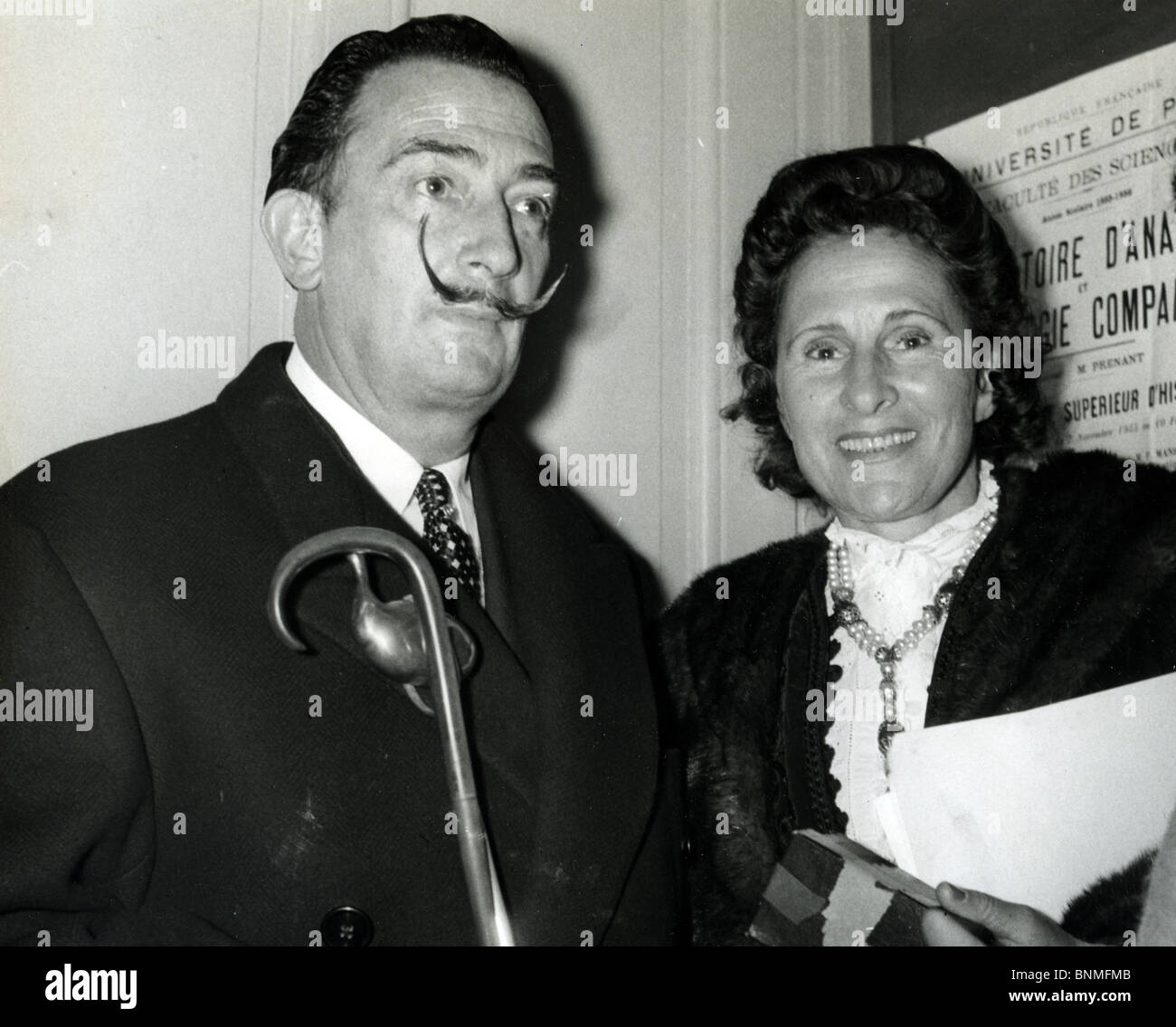SALVADOR DALI  (1984-89) Spanish artist with wife Gala at the Sorbonne in Paris Stock Photo
