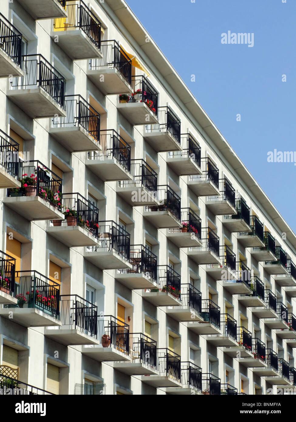 Architecture Apartments Balconies Apartment House Hlm Le Havre Stock Photo Alamy