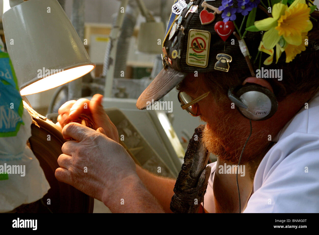 Ireland, Waterford, Waterford Crystal Factory Visitor's Centre, man cutting decoration - Stock Image