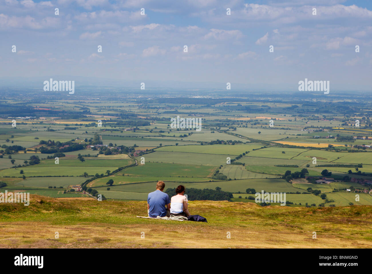 View from the top of The Wrekin, Telford, Shropshire. - Stock Image