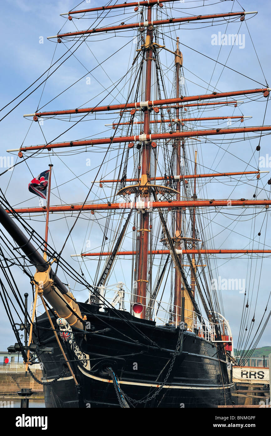 The Royal Research Ship Discovery famous by Robert Falcon Scott who explored Antarctica at Discovery Point, Dundee, - Stock Image