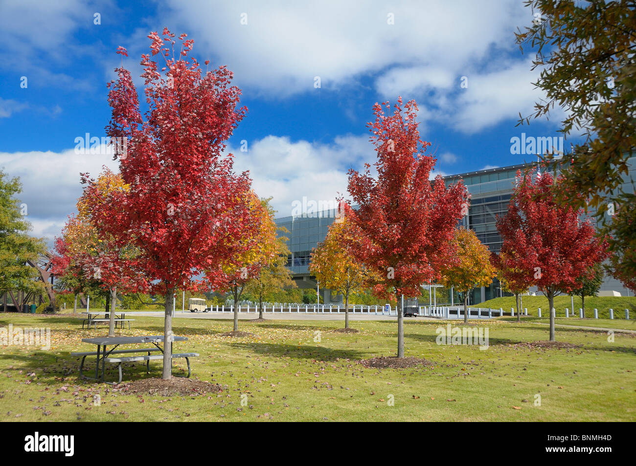 William J. Clinton Presidential Center & Park Library Exterior Little Rock Arkansas USA landscape architecture - Stock Image