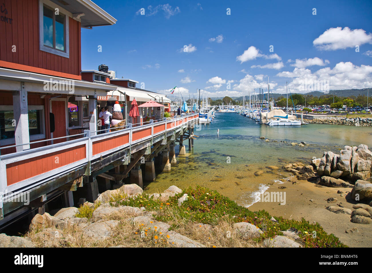 Historic Fishermans Wharf shopping and restaurant area in Monterey California - Stock Image